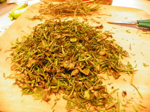 herbs on cutting board